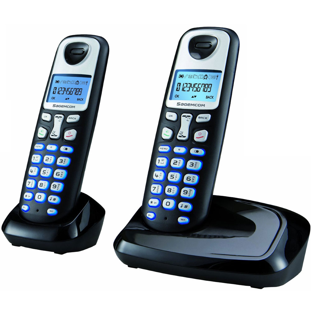 Sagemcom d210 designer duo dect digital cordless phone ebay - Designer cordless home phones ...