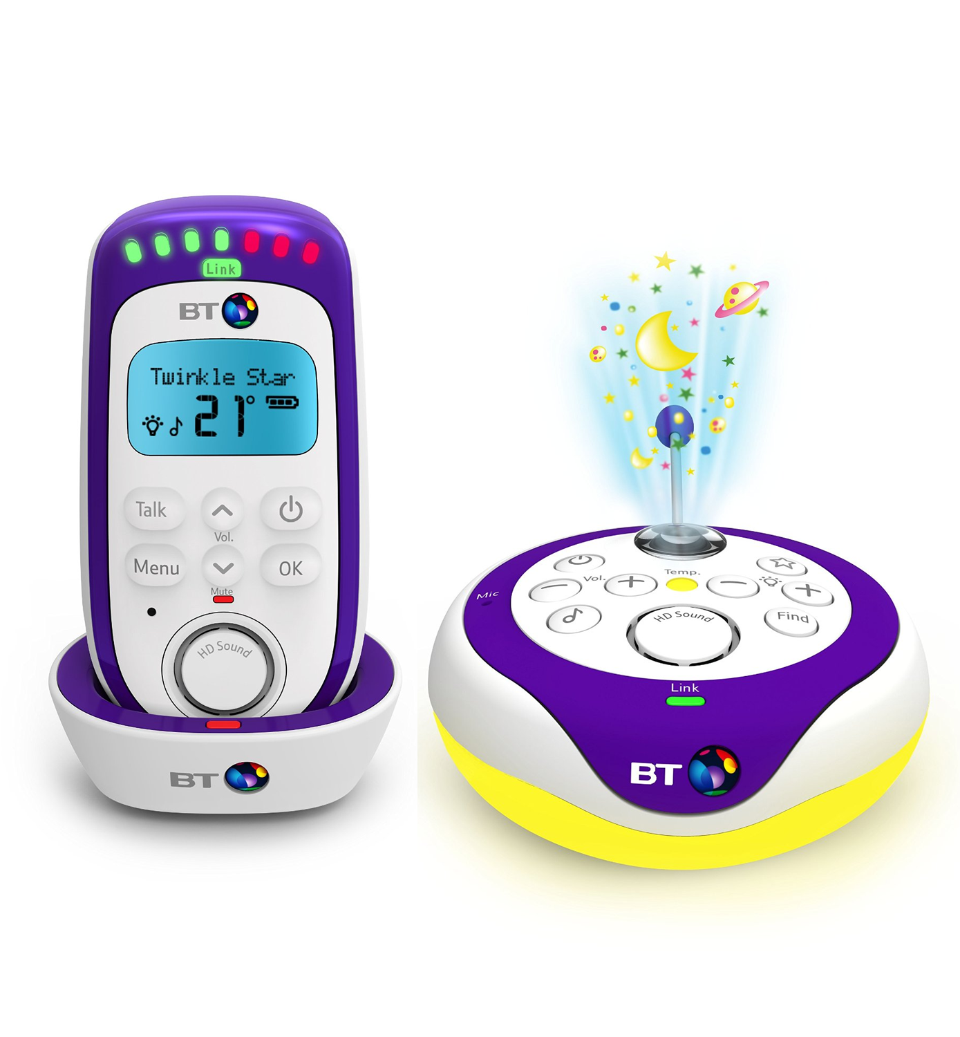 bt digital baby monitor and pacifier with lightshow temp display lullabies ebay. Black Bedroom Furniture Sets. Home Design Ideas