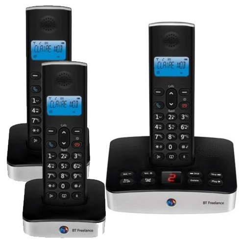 BT FREELANCE XD7500 TRIO DIGITAL CORDLESS ANSWERPHONE