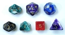 Marble Dice - Set of 7 RPG Dice - BLACK