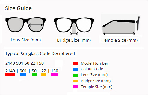 Ray Ban Aviator Sunglasses Size Chart