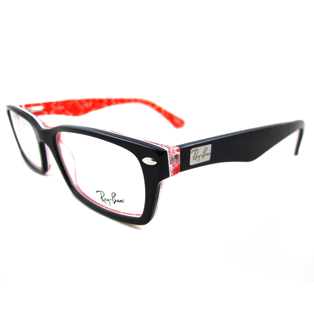 sentinel ray ban glasses frames 5206 2479 top black on white red 54mm