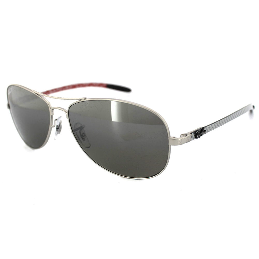 ray ban 8301 waq6  Sentinel RayBan Sunglasses 8301 019/N8 Matt Silver Polarized Grey Mirror  Silver Gradient
