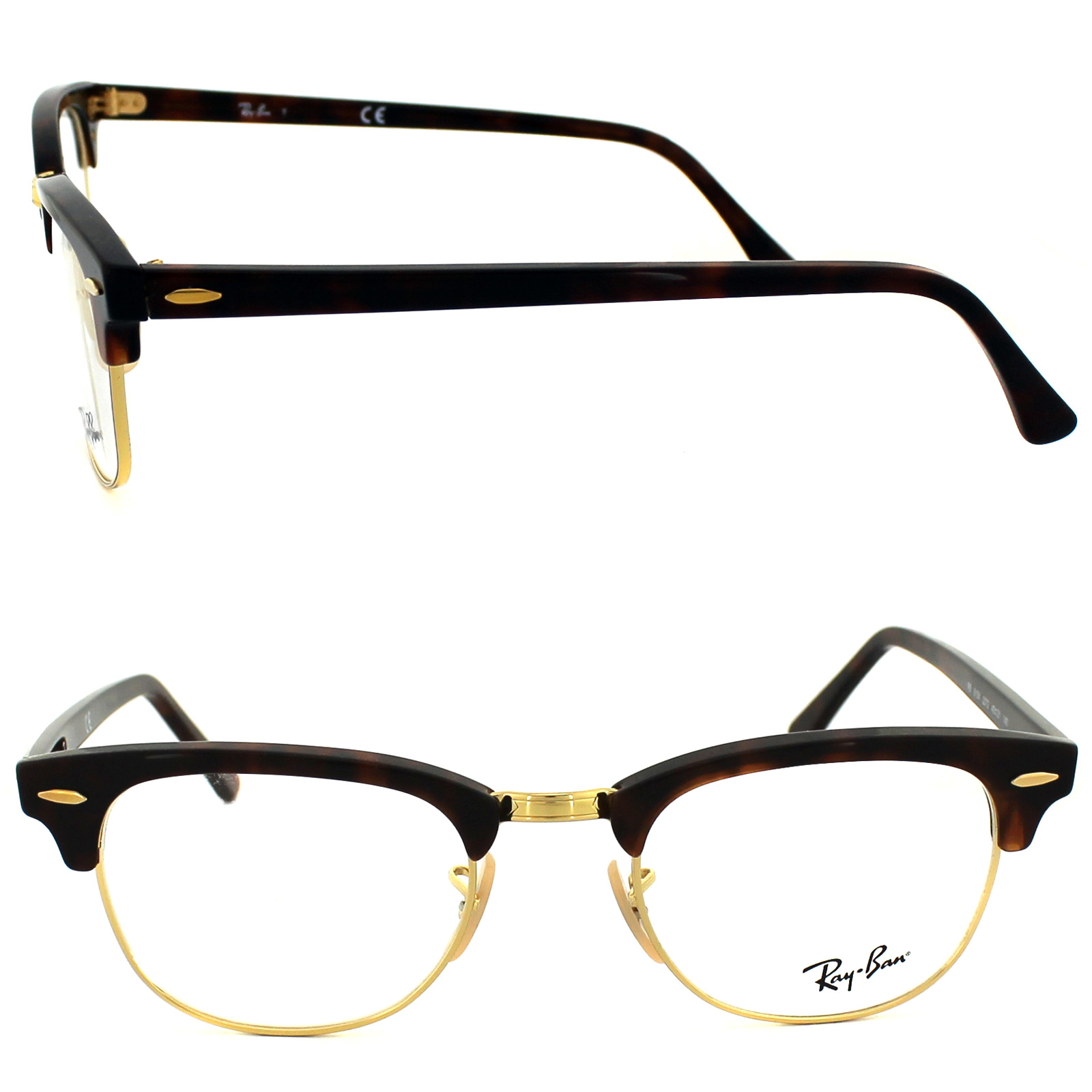 Ray-Ban Glasses Frames 5154 Clubmaster 2372 Red Havana ...