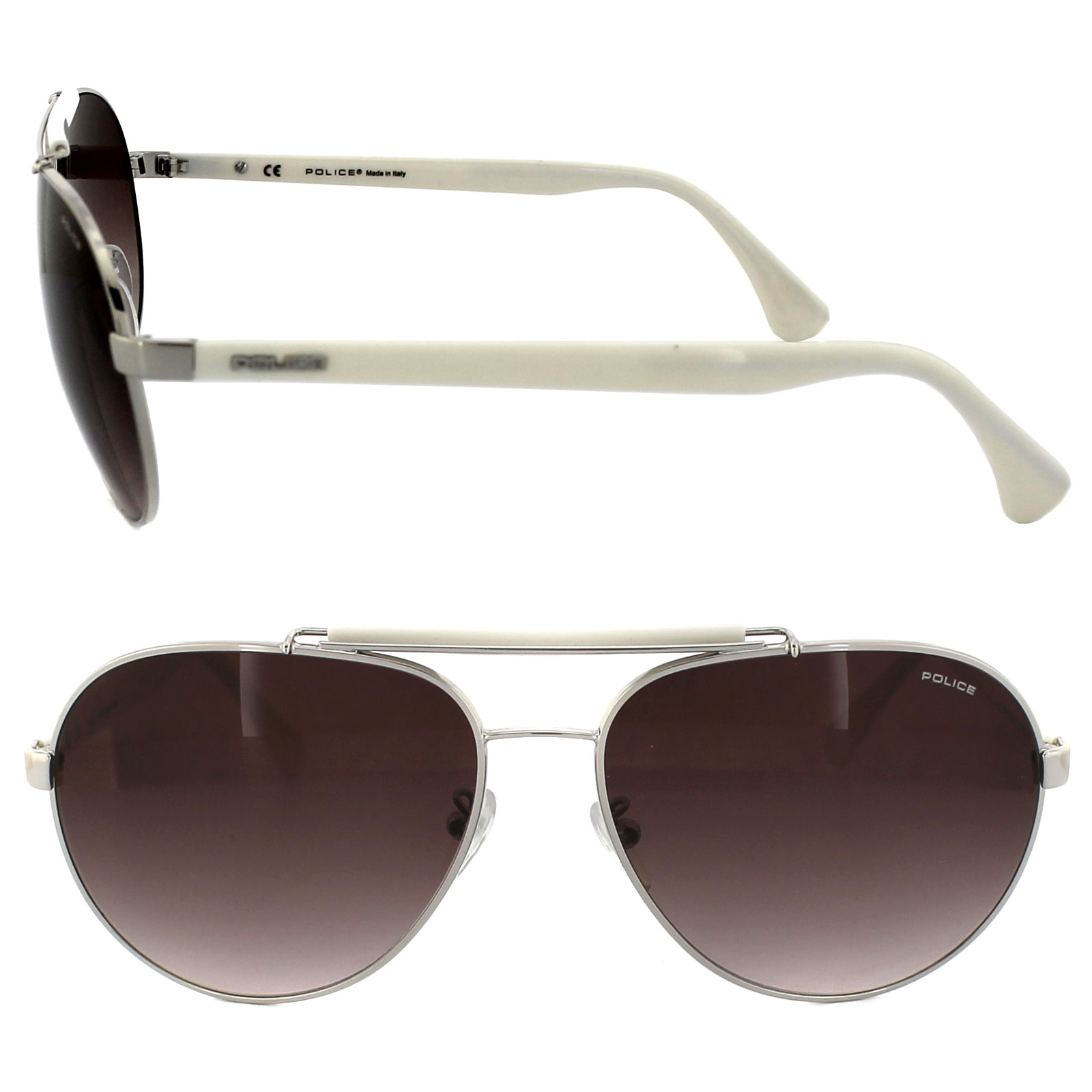 d48236771a75 Police Sunglasses 8644 579 Silver   White Brown Gradient