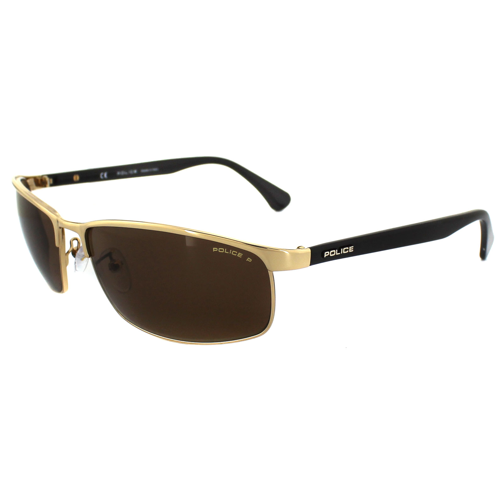 Gold Frame Police Sunglasses : Police Sunglasses 8646 300P Gold & Brown Brown Polarized ...
