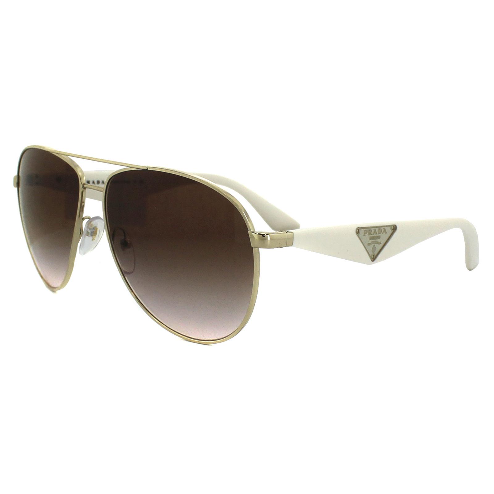 Prada White Frame Glasses : Prada Sunglasses 53QS ZVN0A6 Gold & White Brown Gradient ...