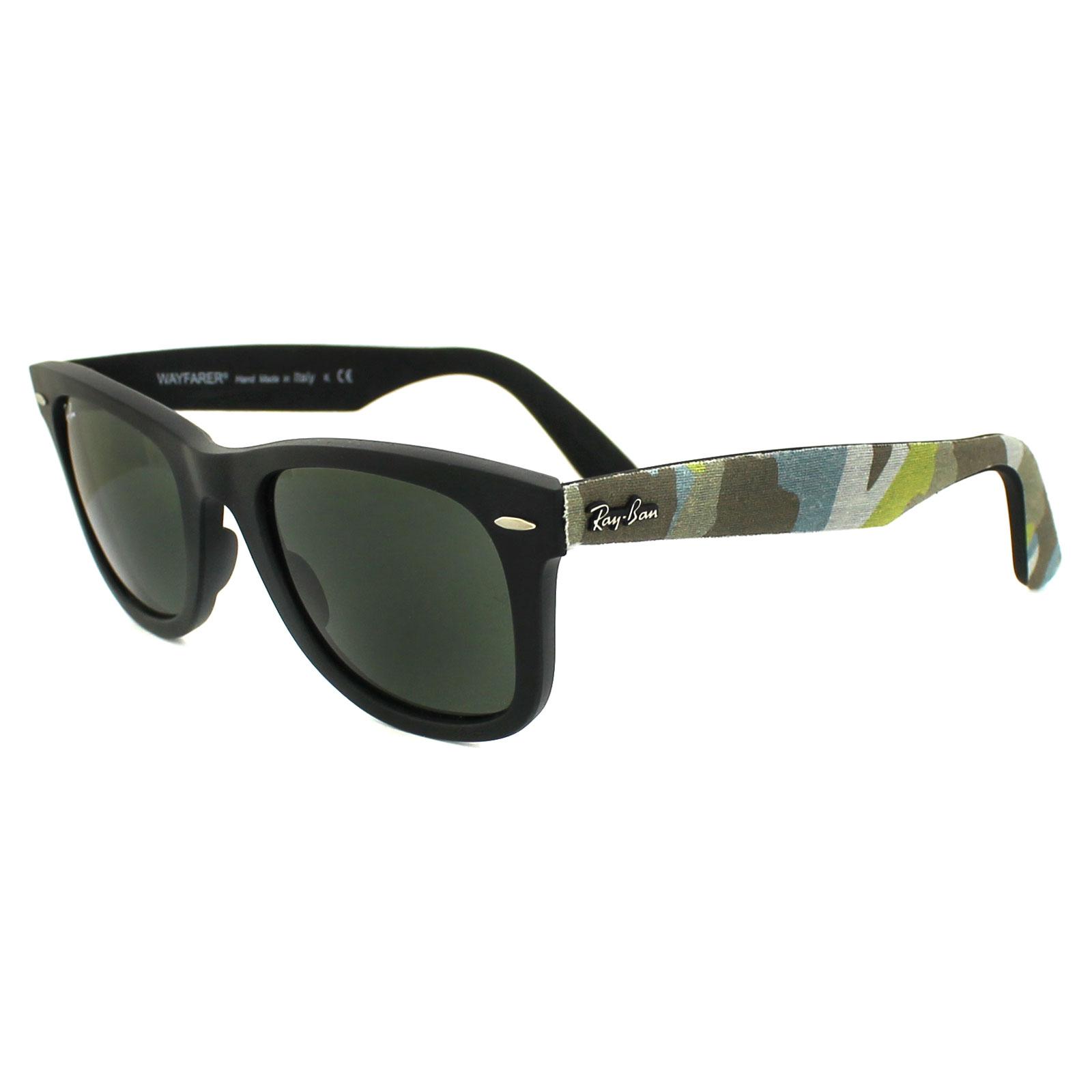 ray ban sunglasses wayfarer 2140 6065 matt black camo green ebay. Black Bedroom Furniture Sets. Home Design Ideas