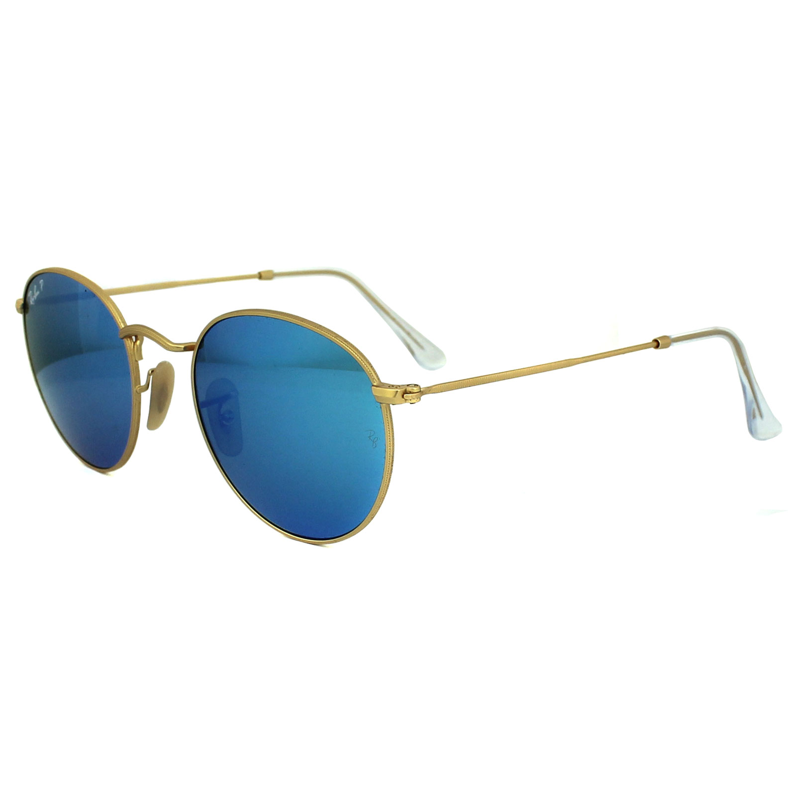 Ray-Ban Sunglasses Round Metal 3447 112/4L Gold Blue Polarized Flash Mirror