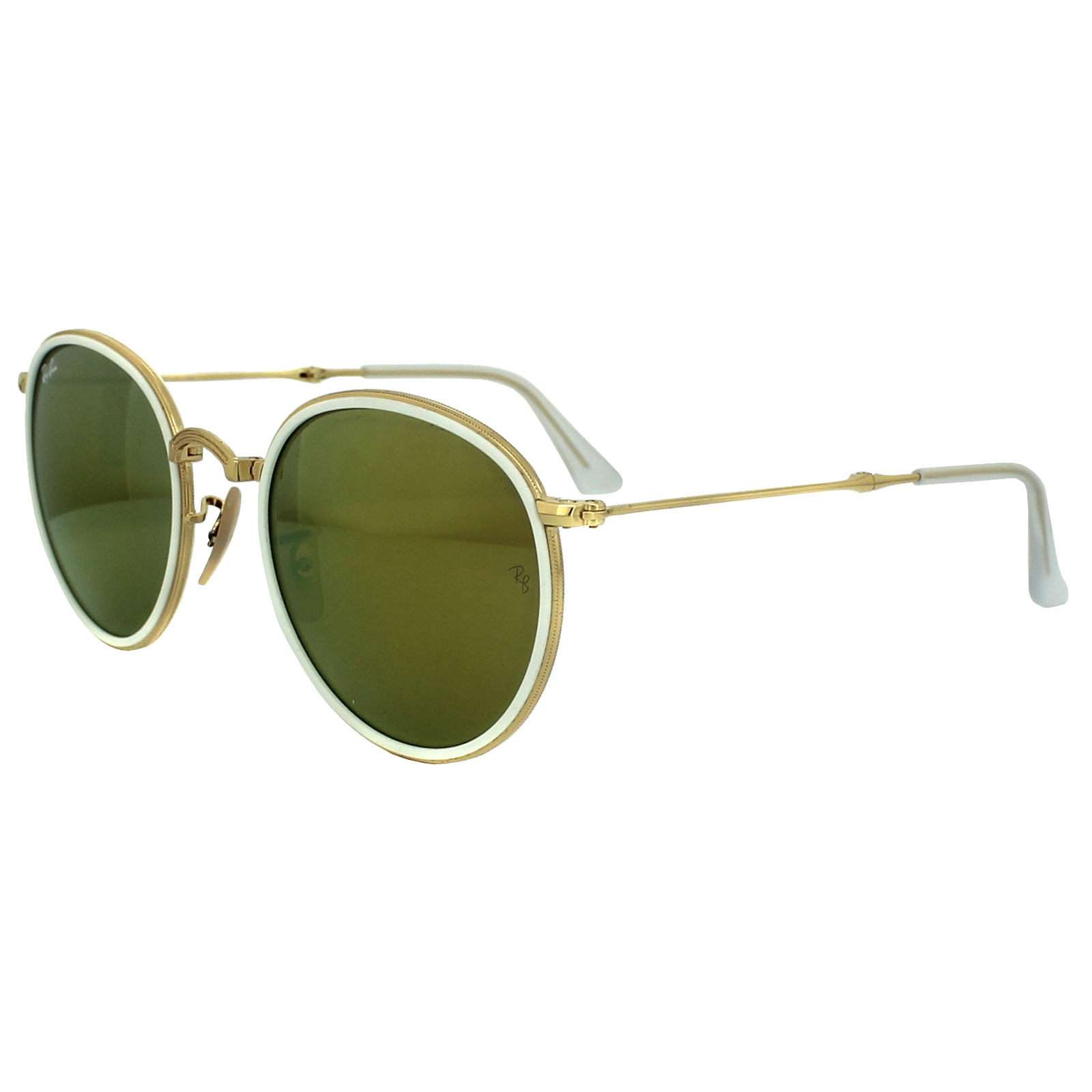 ray ban round folding frame sunglasses  ray ban sunglasses round folding 3517 001/93 gold & white yellow mirror