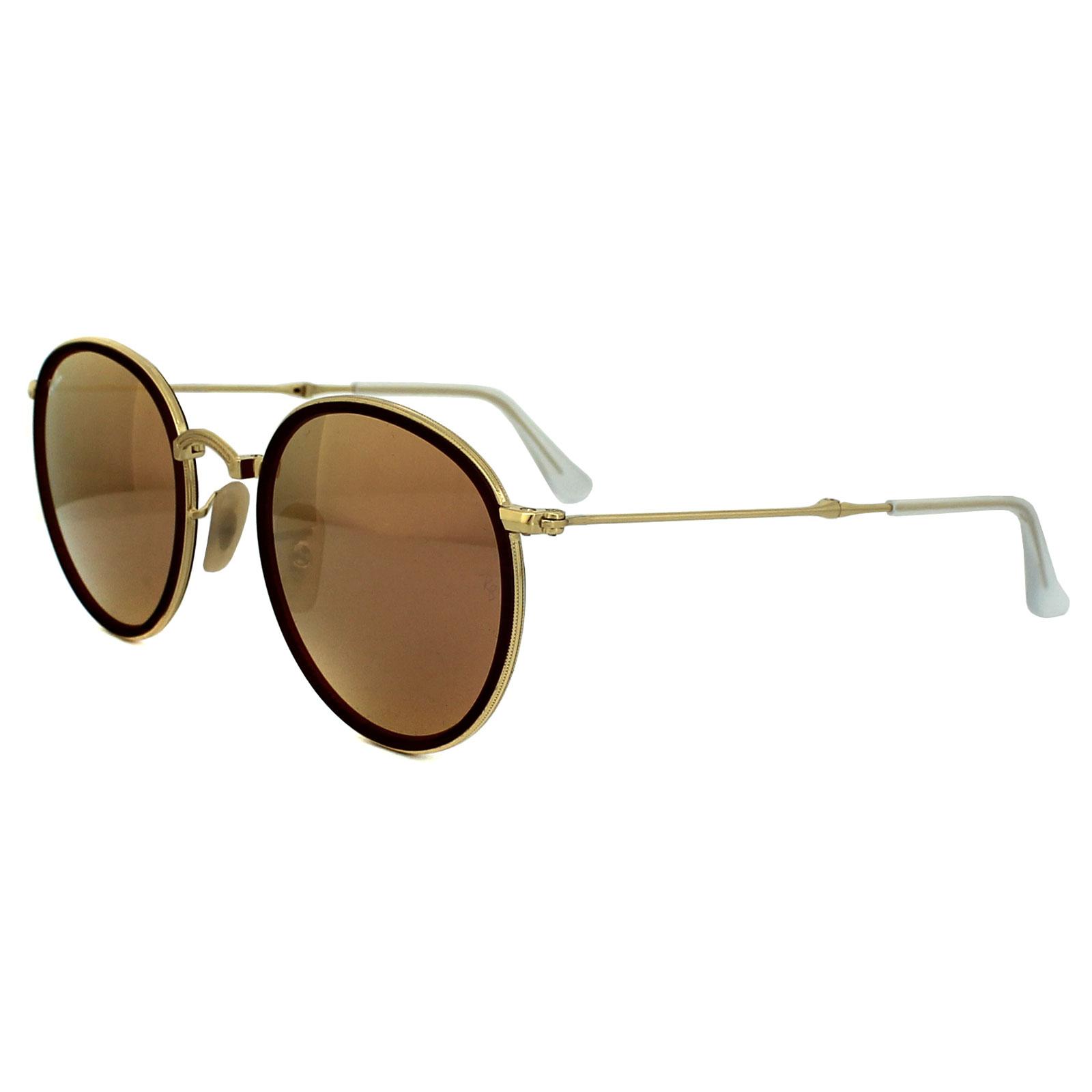 Copper Sunglasses  ray ban sunglasses round folding 3517 001 z2 gold copper mirror ebay