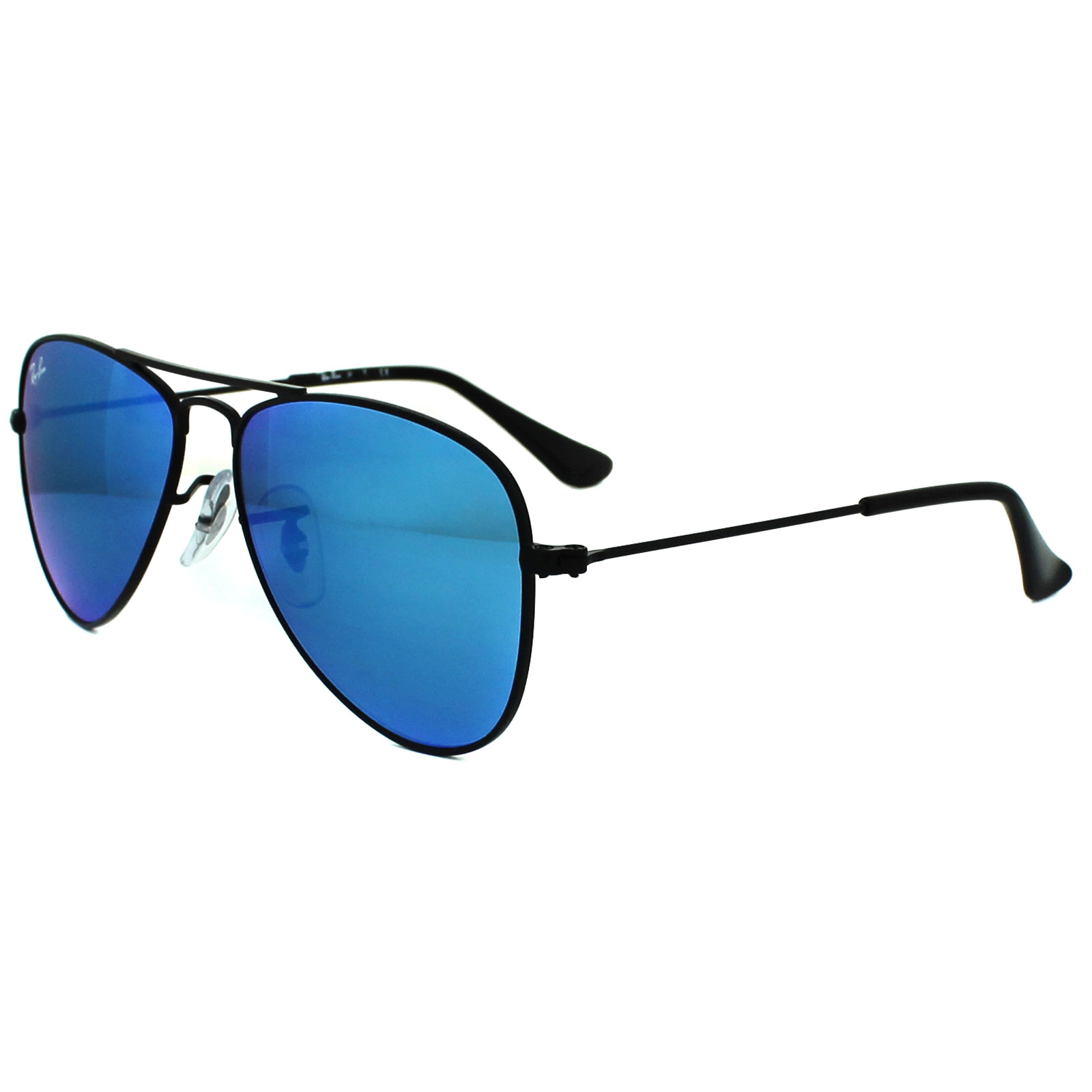 ray ban junior 9506s aviator sunglasses  ray ban junior sunglasses 9506 201/55 black blue flash mirror