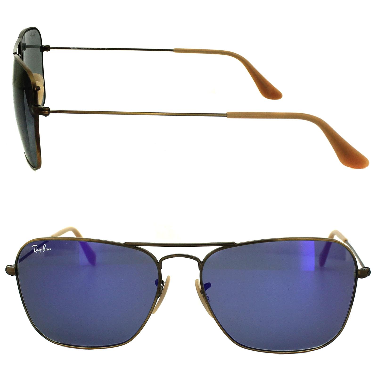 ray ban 3136 85ts  Sentinel Ray-Ban Sunglasses Caravan 3136 167/68 Brushed Bronze Blue Violet  Flash Mirror