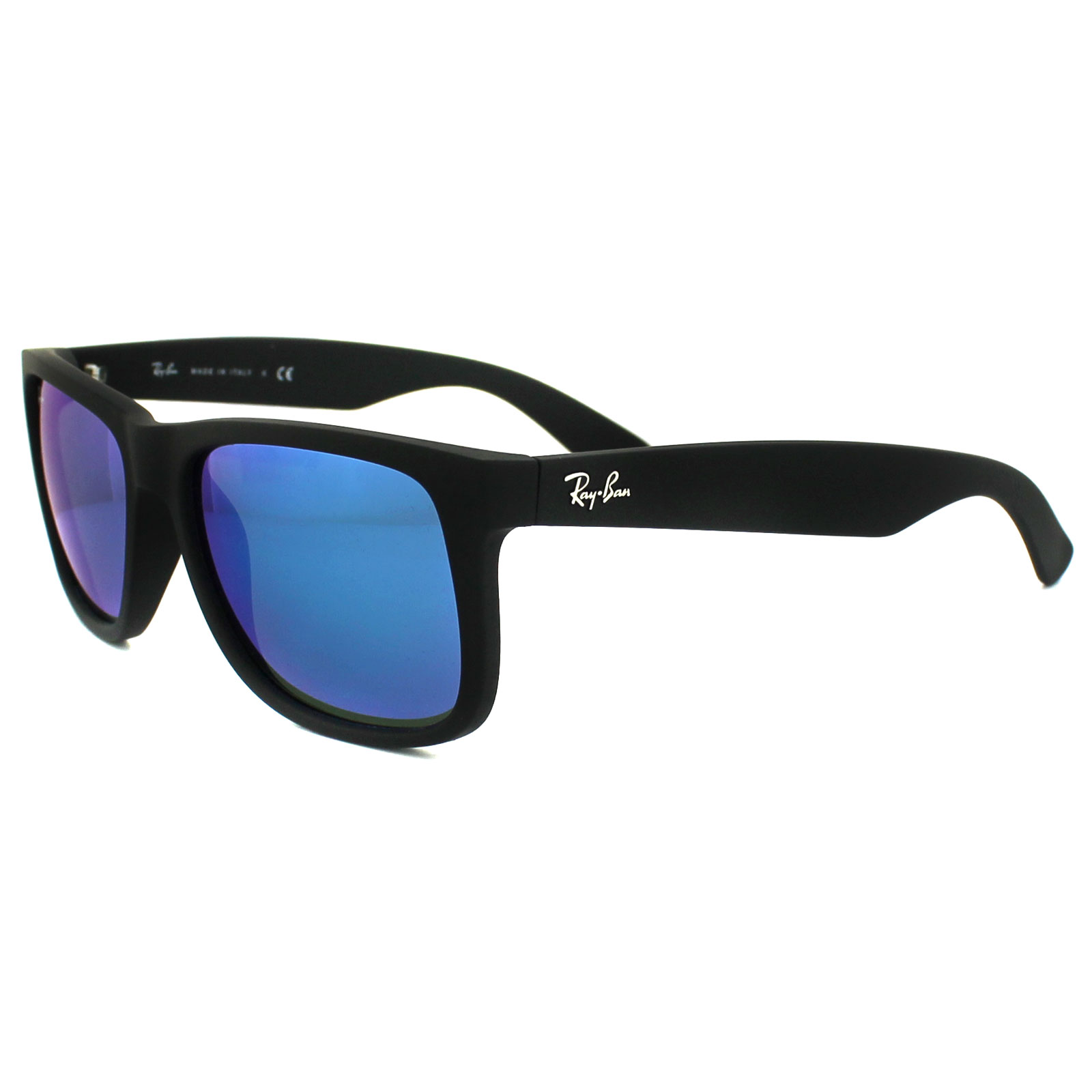 Ray-Ban Sunglasses Justin 4165 622/55 Rubber Black Blue Mirror