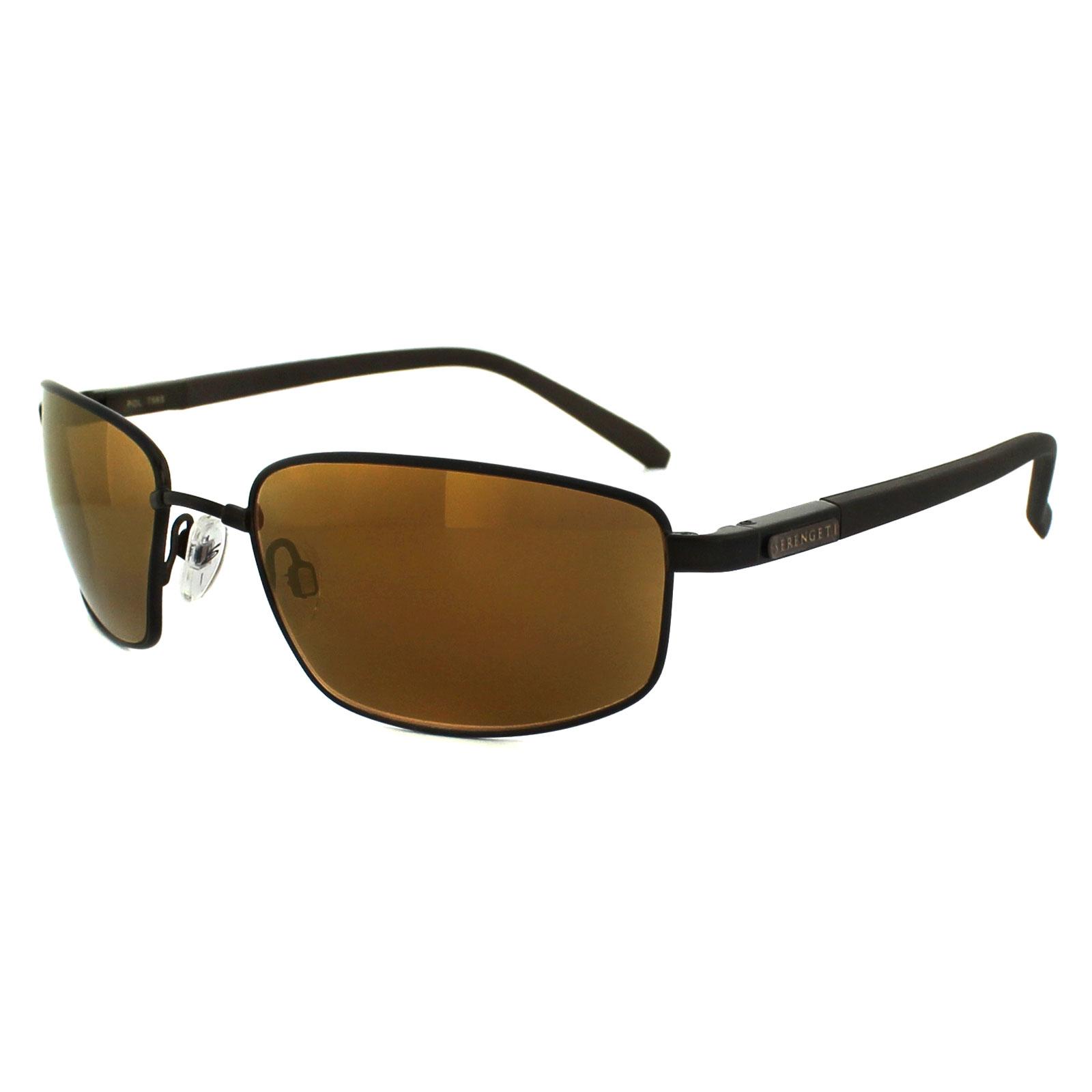 Serengeti occhiali da sole agazzi 7565 raso marrone scuro - Specchio polarizzato ...