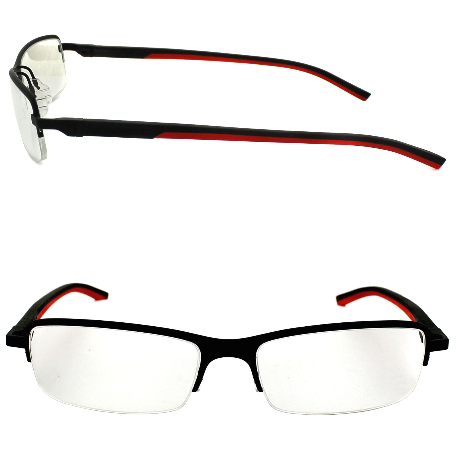 Tag heuer eyeglasses frames uk -  Tag Heuer Glasses Frames Automatic 0824 012 Matt Black Red Thumbnail 2