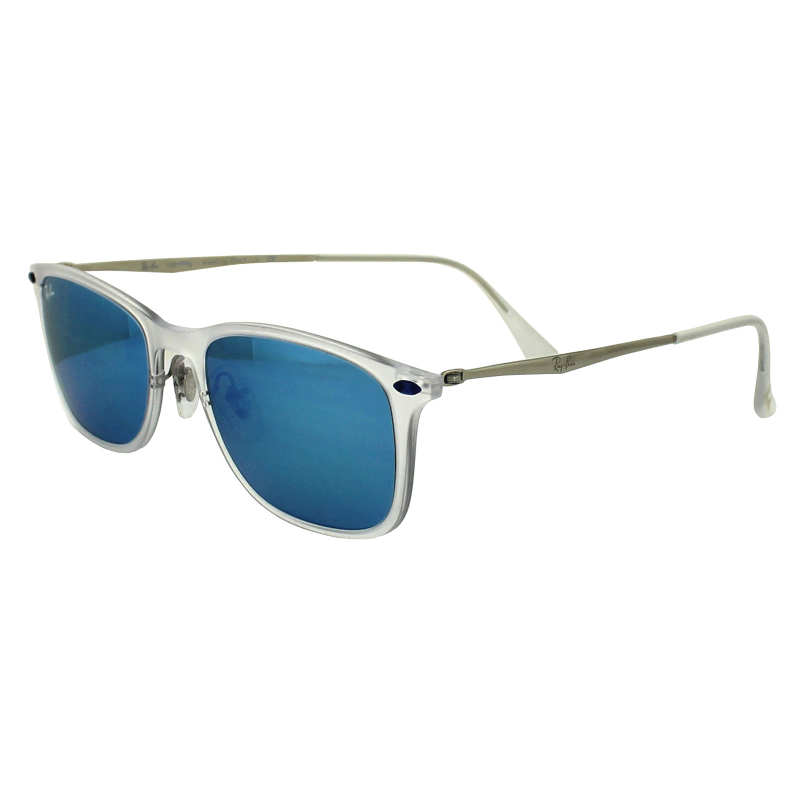 gold rimmed ray bans mw66  Ray-Ban Sunglasses New Wayfarer Light Ray 4225 646/55 Transparent Blue  Mirror