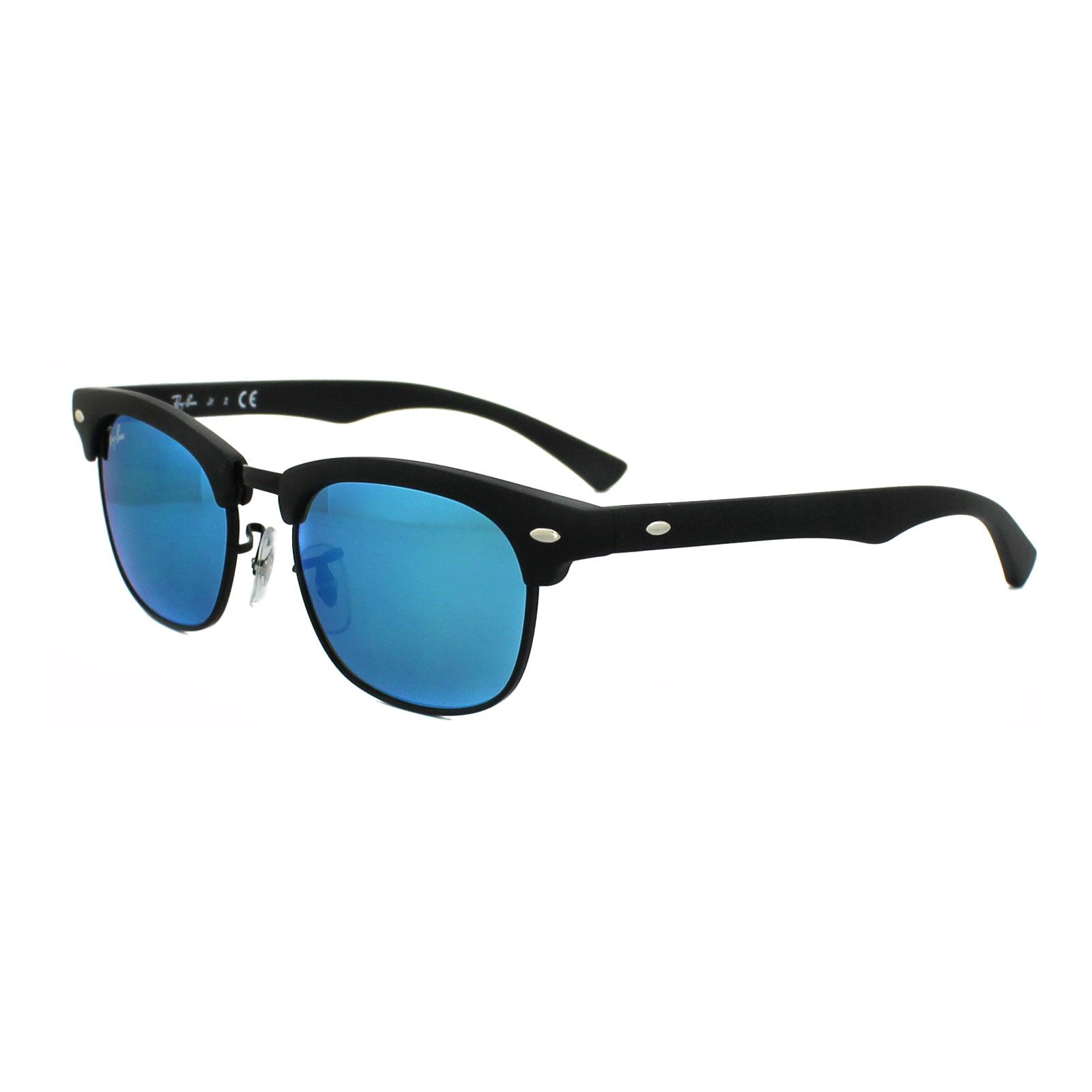 Ray ban junior occhiali da sole 9050 100s55 nero blu flash - Ray ban a specchio blu ...