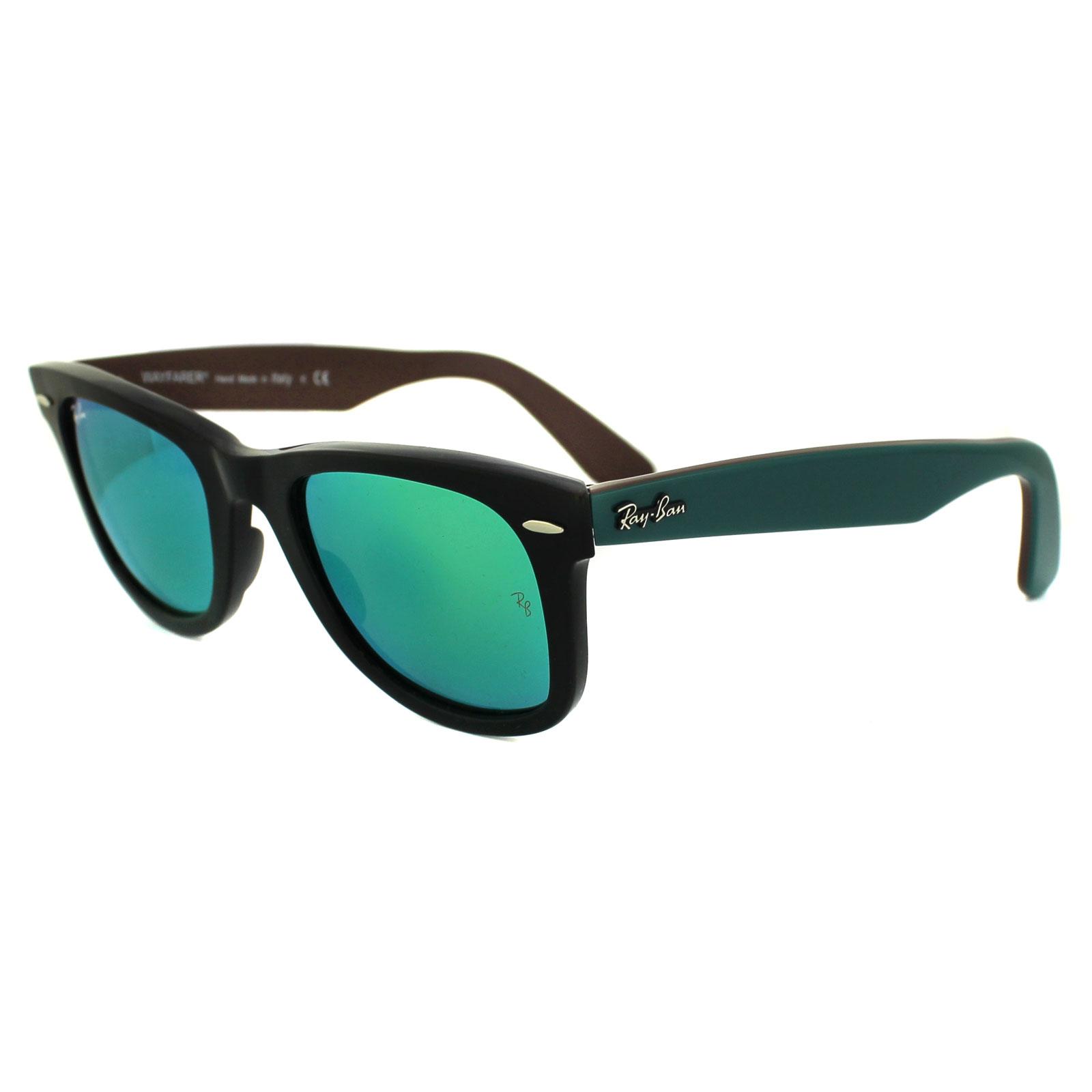 ray ban sunglasses wayfarer 2140 117519 bicolor black with green ebay. Black Bedroom Furniture Sets. Home Design Ideas