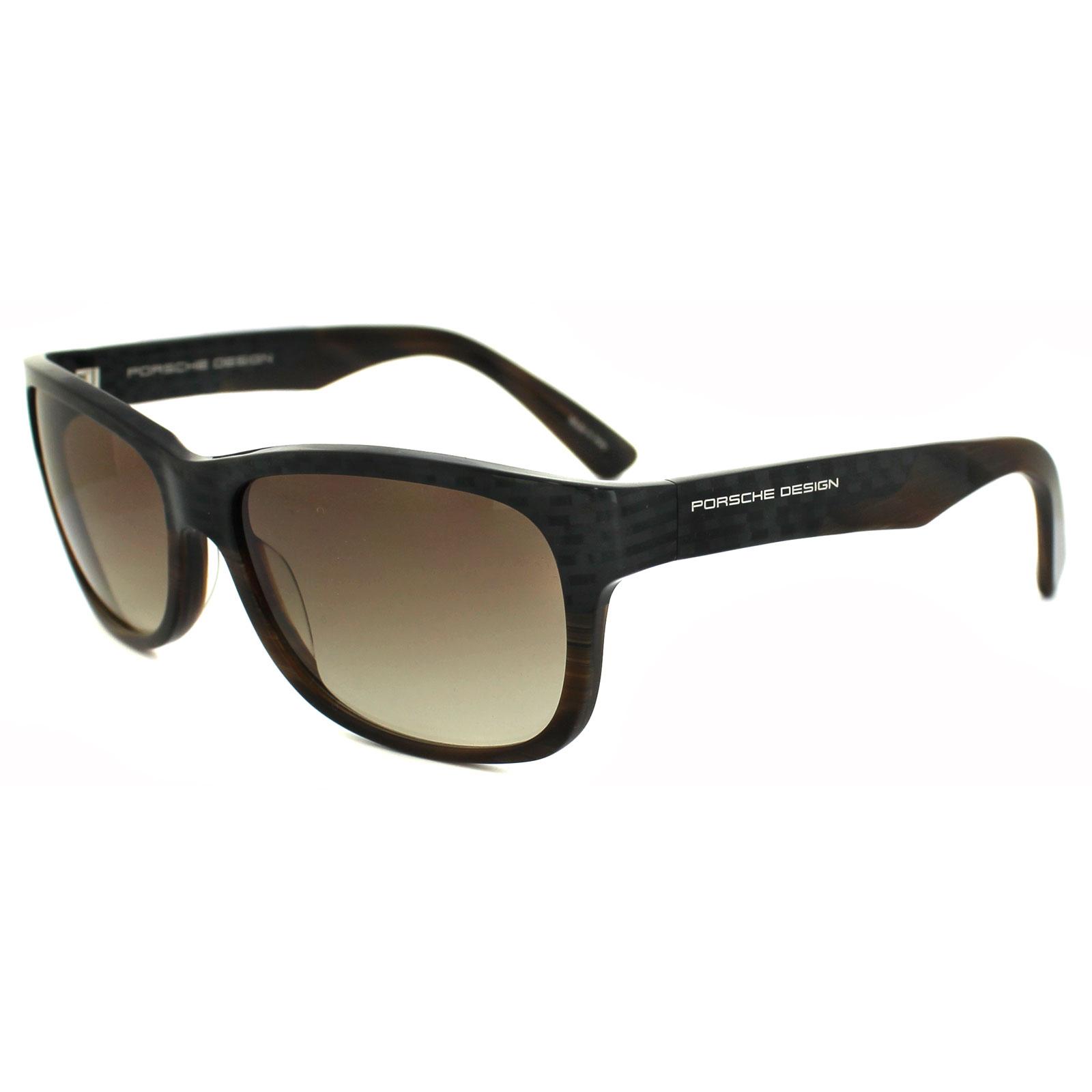 porsche design lunettes de soleil p8546 b gris marron havane d grad es ebay. Black Bedroom Furniture Sets. Home Design Ideas
