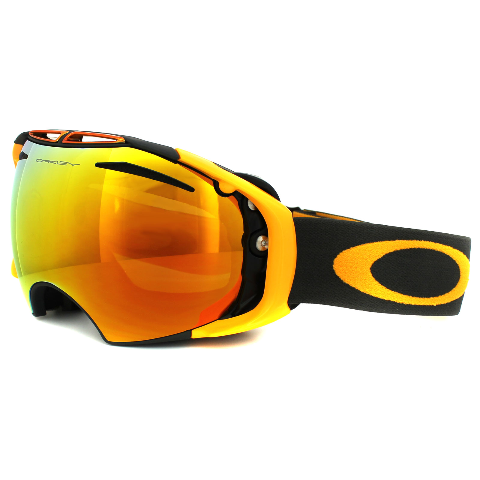 oakley snow glasses  Oakley Ski Snow Goggles Airbrake 59-490 Dark Gunmetal Fire \u0026amp ...