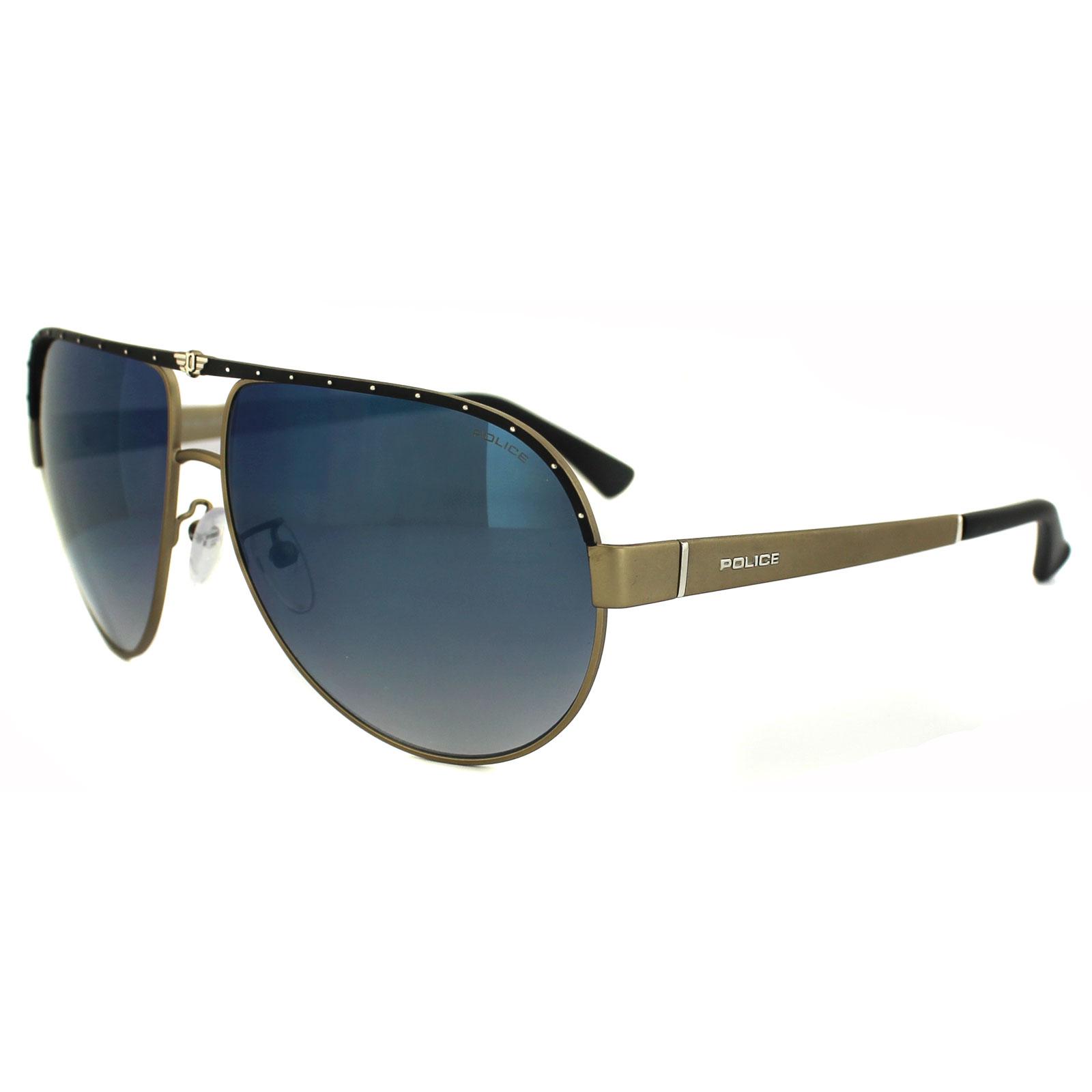 Gold Frame Police Sunglasses : Police Sunglasses S8844 Spark 1 8UZB Matt Gold Blue ...