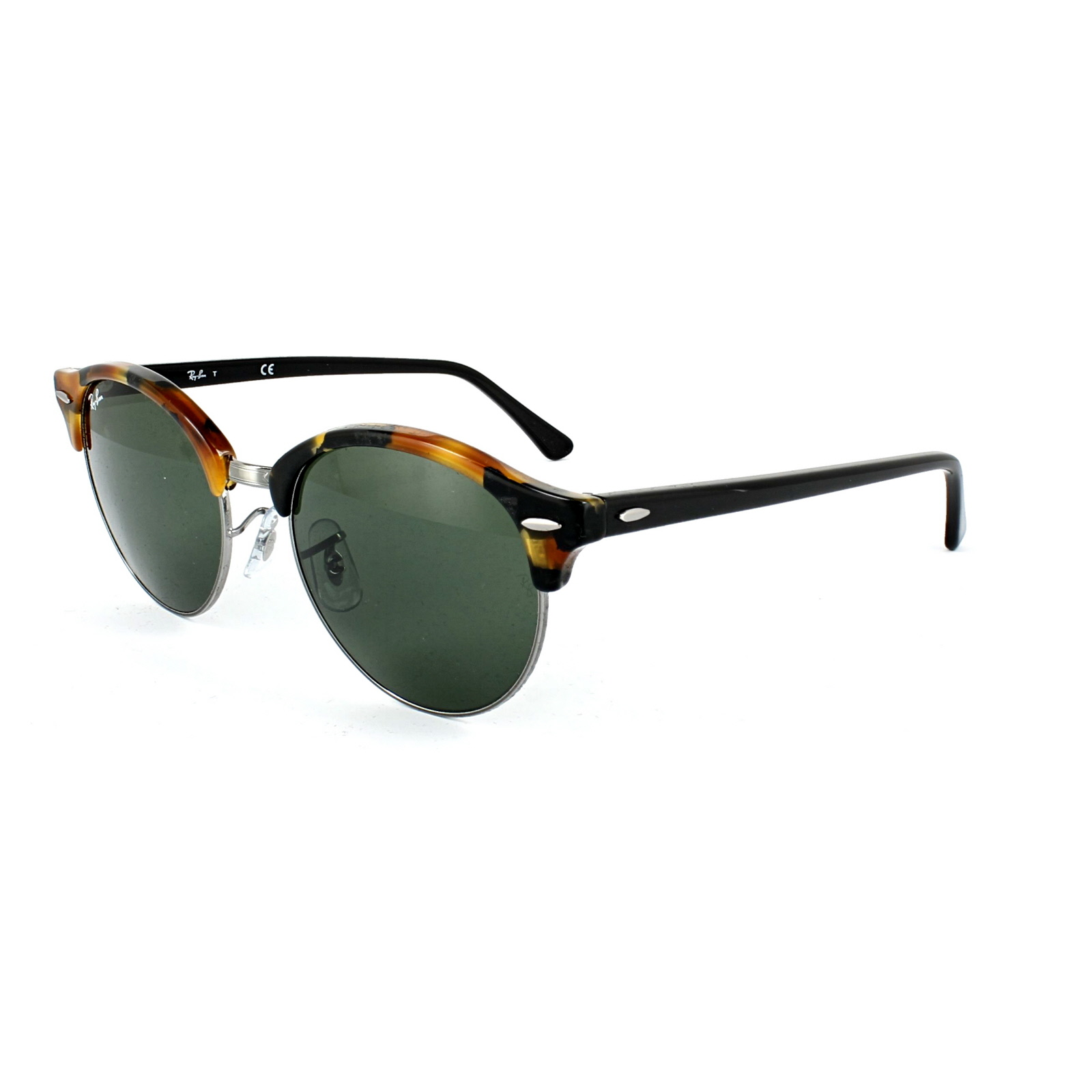 ray ban sunglasses clubround 4246 1157 spotted black havana gold green ebay. Black Bedroom Furniture Sets. Home Design Ideas