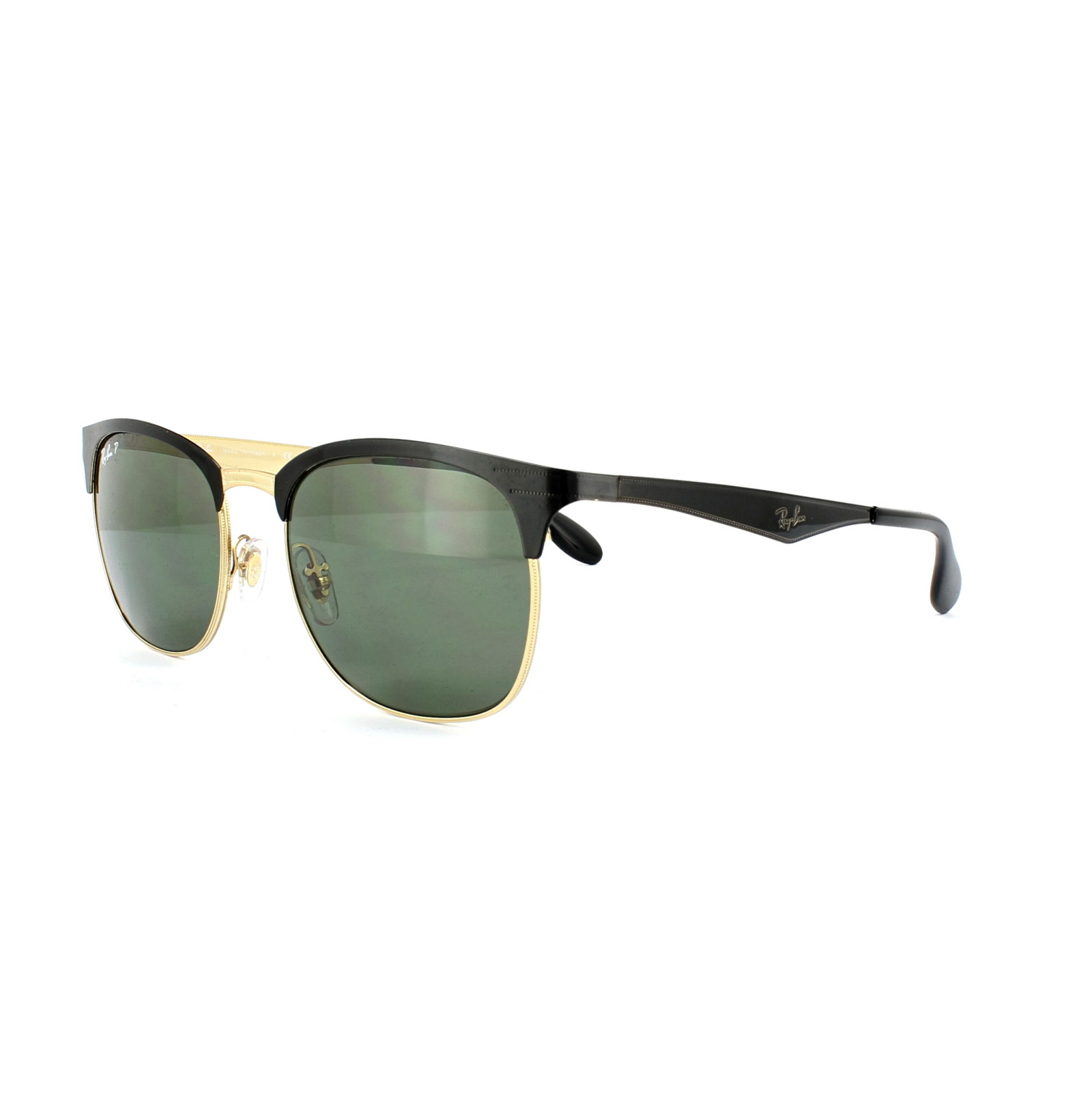 Ray-Ban Sunglasses 3538 187/9A Black \u0026amp; Gold Green Polarized