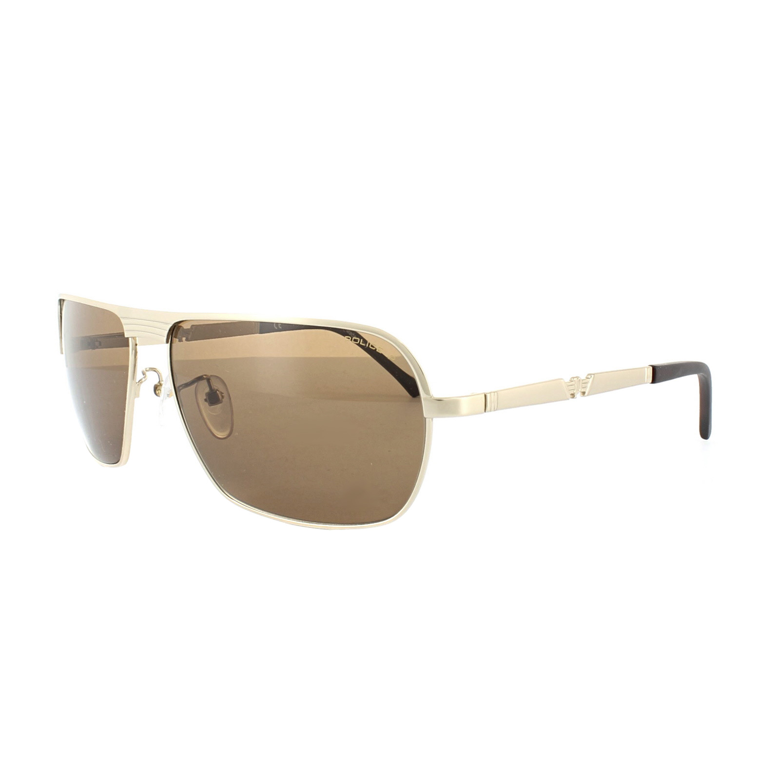 Gold Frame Police Sunglasses : Police Sunglasses S8745M 349P Gold Brown Polarized eBay