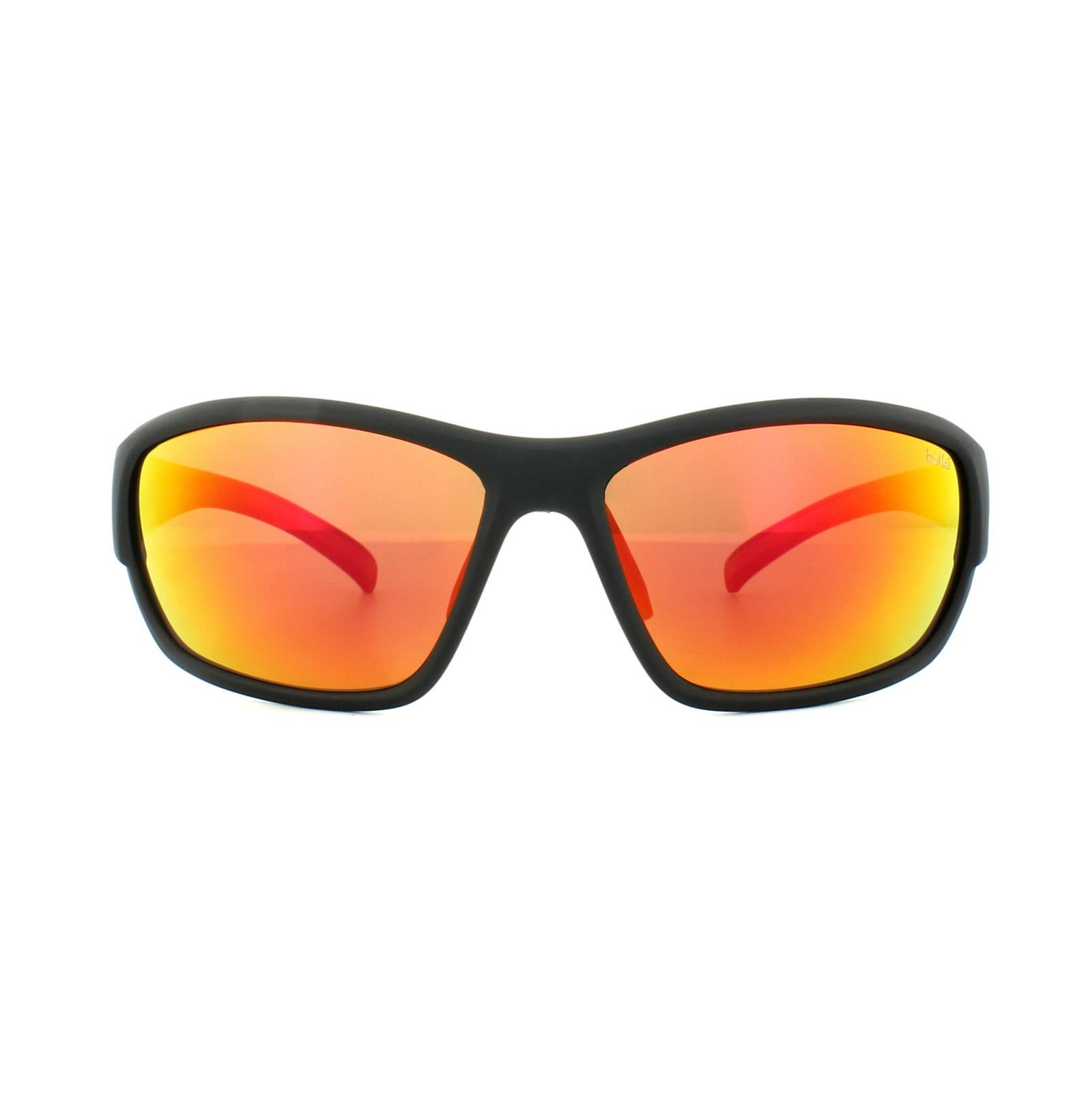 Bolle occhiali da sole bounty 11679 nero opaco tns rosso - Specchio polarizzato ...