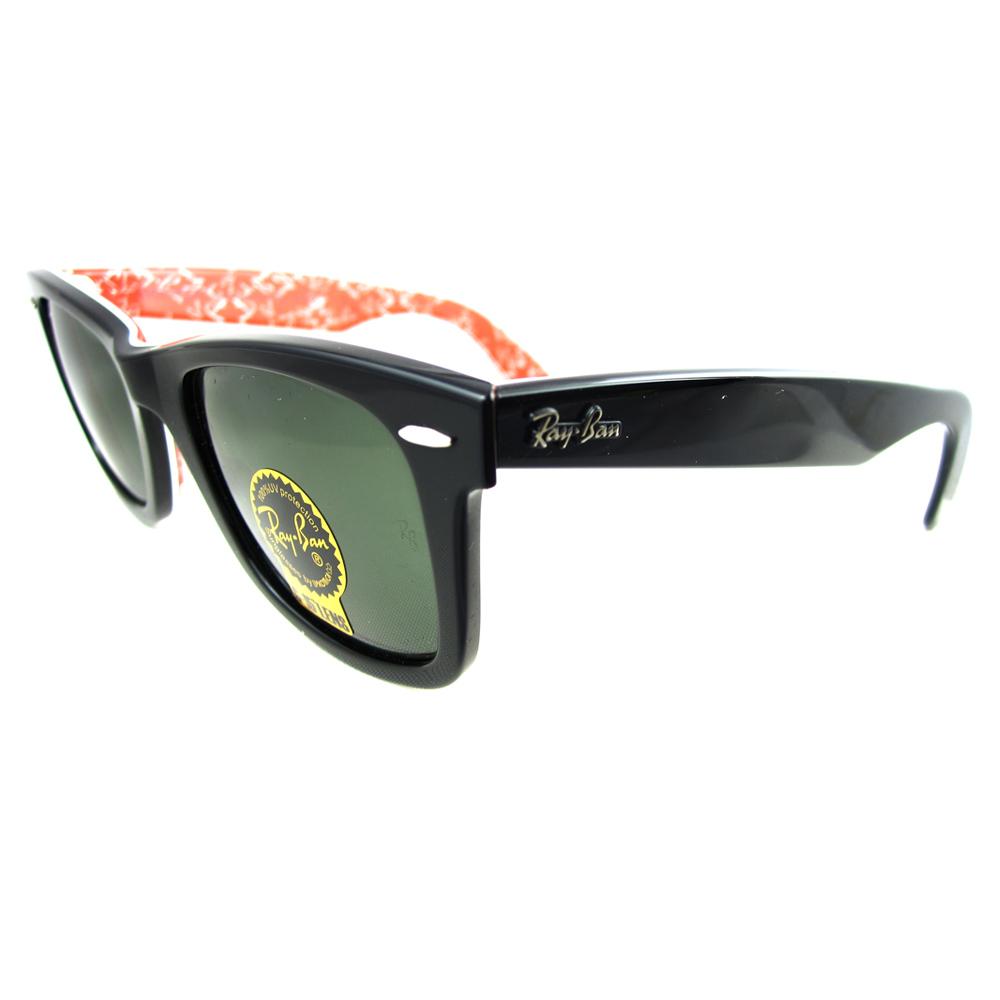 ray ban sunglasses wayfarer 2140 1016 black text red ebay. Black Bedroom Furniture Sets. Home Design Ideas