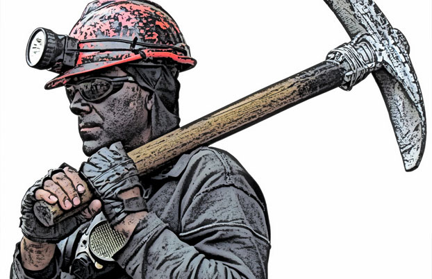 An artist's impression of a rescued Chilean miner wearing Oakley sunglasses to protect his eyes from the light by Discounted sunglasses
