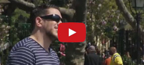 Jokers play tricks on a guy wearing black-out sunglasses