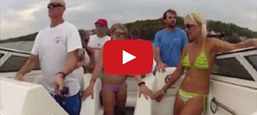 Stupid boat driver goes over the top and crashes his posh boat