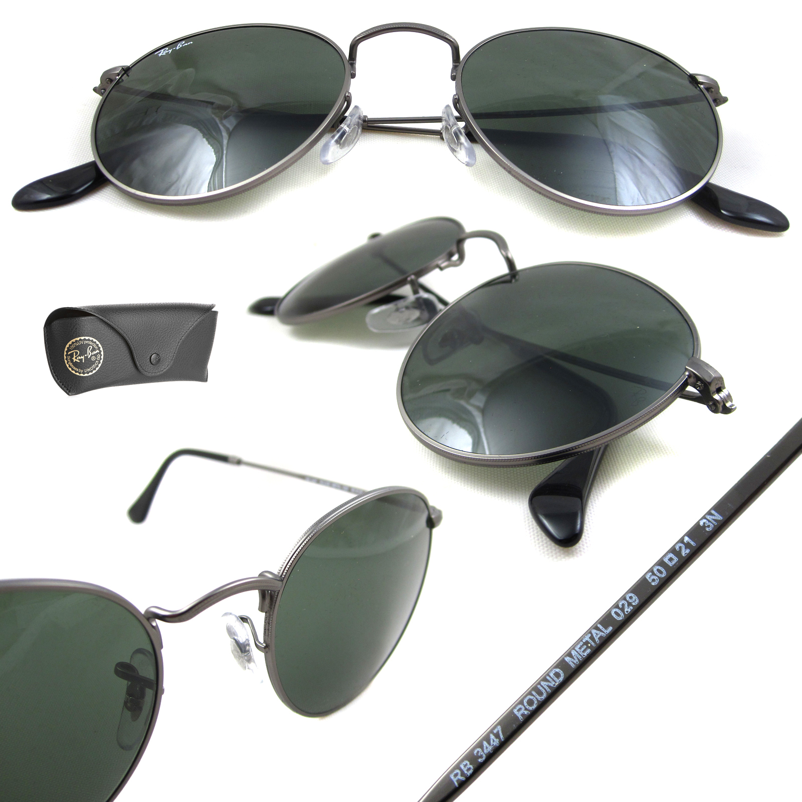 afd7a3fd54c Rayban Sunglasses Round Metal 3447 029 Gunmetal Green 50