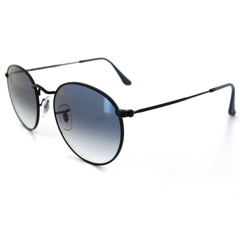 Ray-Ban Sunglasses Round Metal 3447 006/3F Black Blue Gradient