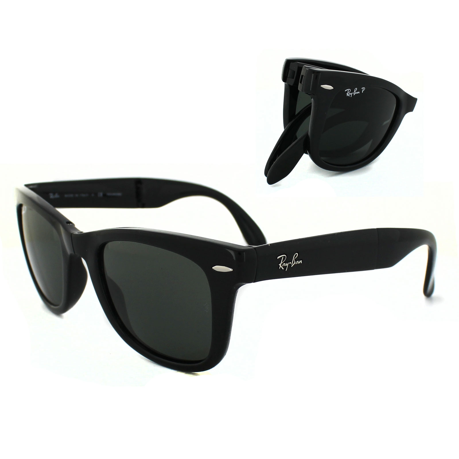 ray ban wayfarer folding i117  Sentinel Ray-Ban Sunglasses Folding Wayfarer 4105 Black Green Polarized  601/58 Medium