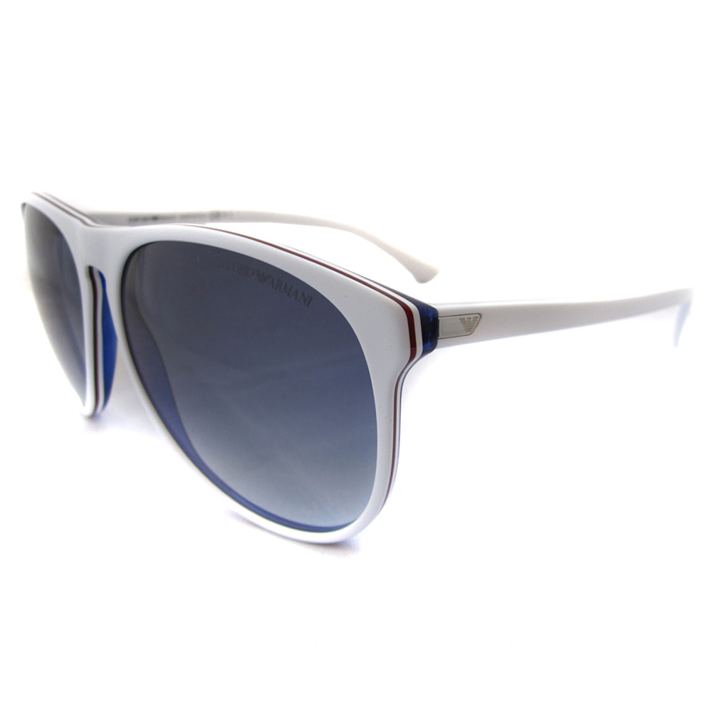 White Frame Armani Glasses : Emporio Armani Sunglasses 9801 White Dark Blue Gradient ...