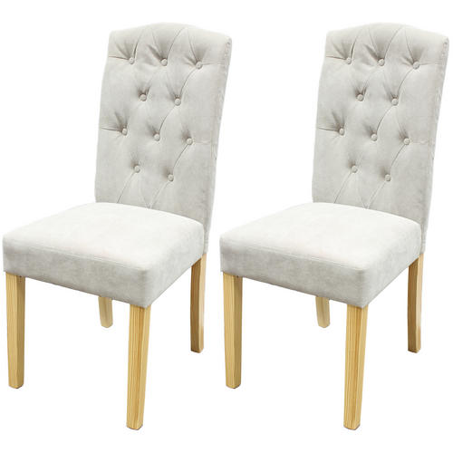 STONE BUTTON BACK DINING CHAIRS WOODEN OAK EFF LEGS TABLE