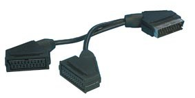 2 Scart Sockets to 1 Scart Plug Adaptor