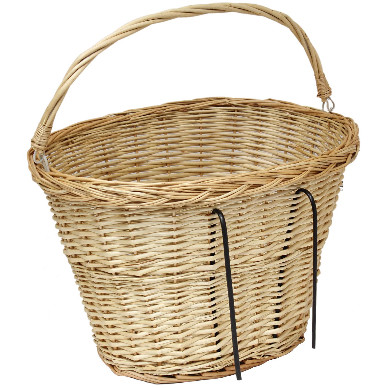 BICYCLE WICKER SHOPPING BASKET WITH CARRY HANDLE FOR FRONT OF BIKE/CYCLE Enlarged Preview