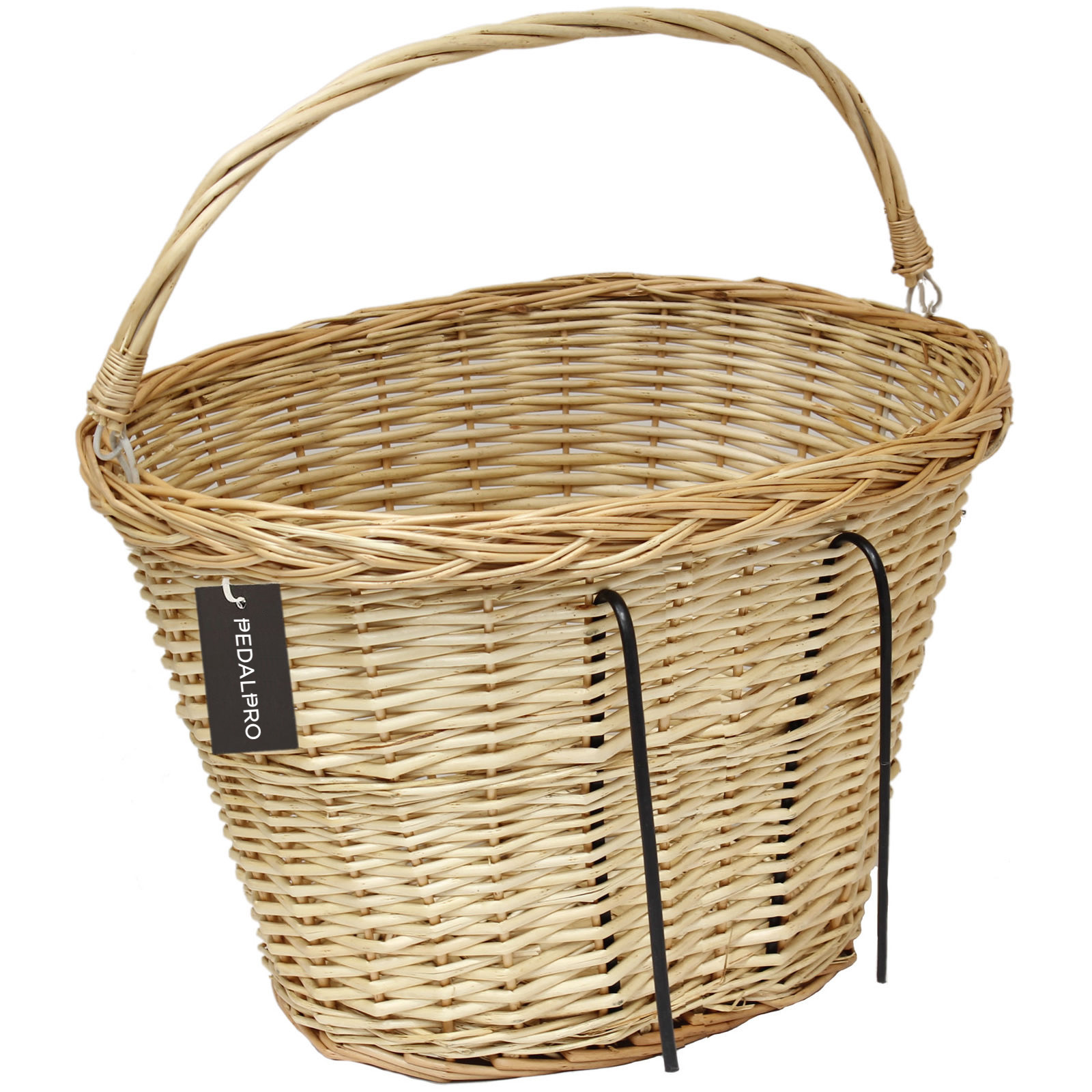 Wicker Bike Basket With Handle : Bicycle wicker ping basket with carry handle for front