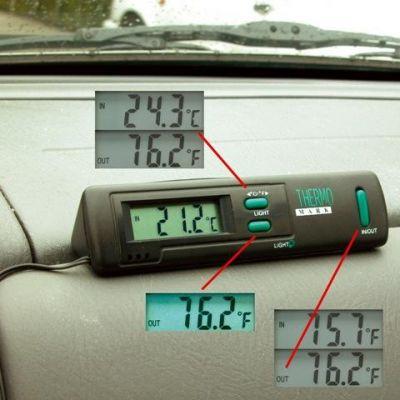 backlit digital car interior inside outside temperature gauge thermometer new ebay