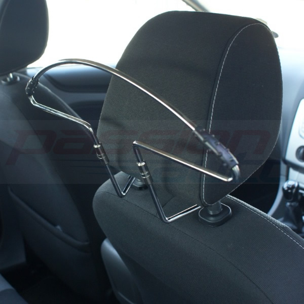 IN CAR HEADREST MOUNT CHROME METAL COAT HANGER FOR SUIT/SHIRT/CLOTHES HEAD REST Enlarged Preview