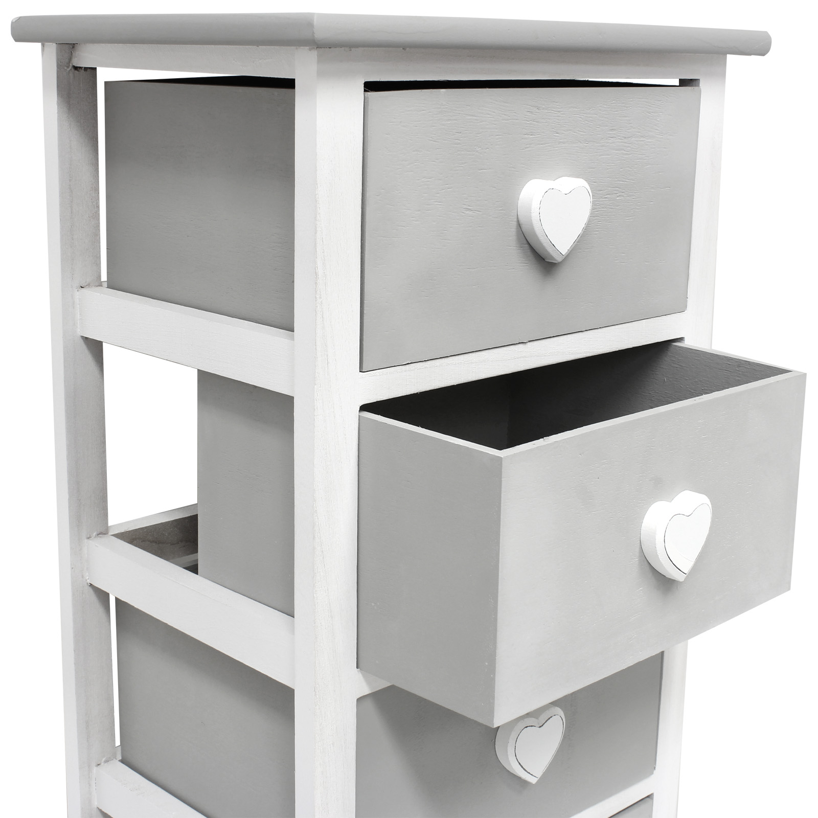 Hartleys White Grey 5 Drawer Heart Storage Unit Chest Of