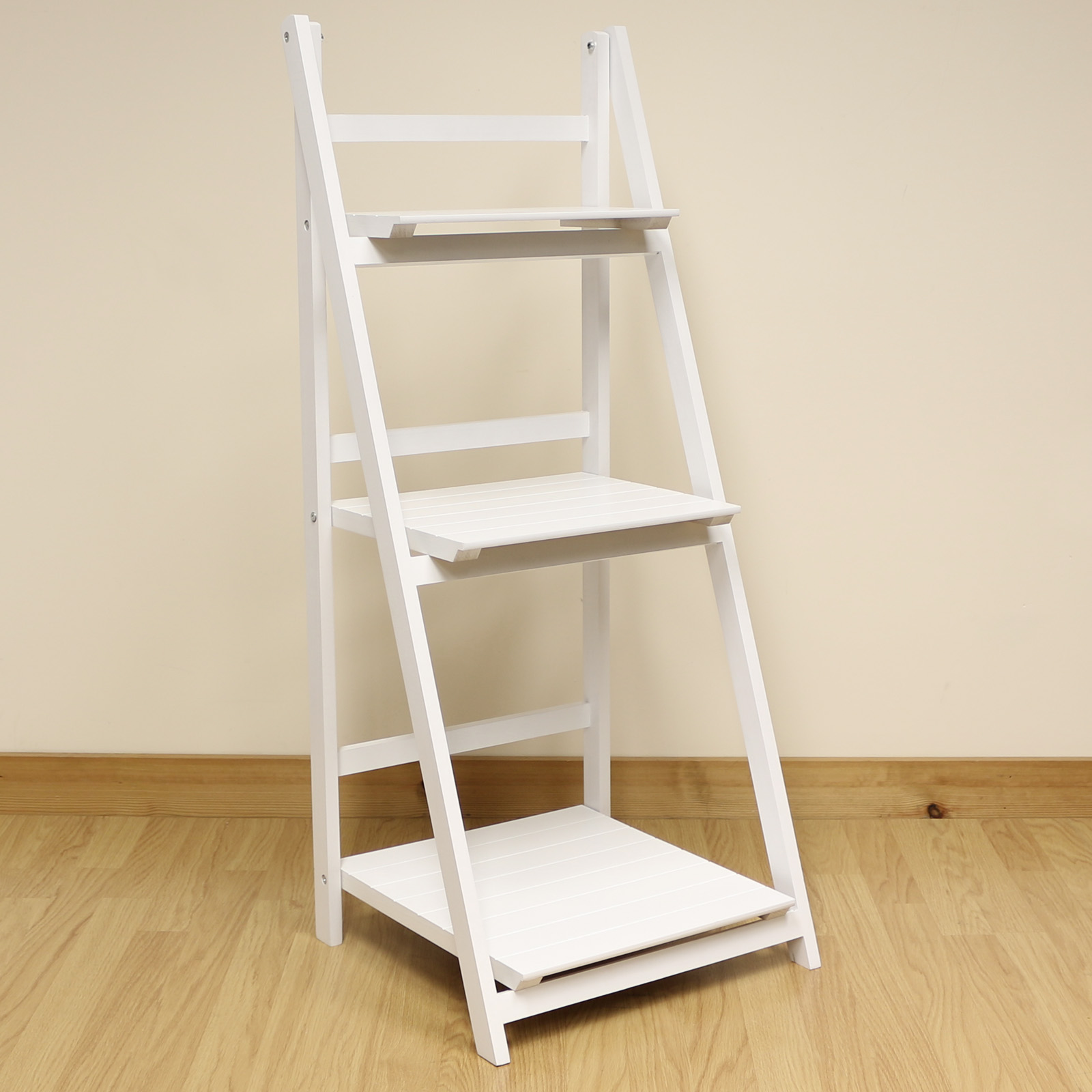 3 Tier White Ladder Shelf Display Unit Free Standing