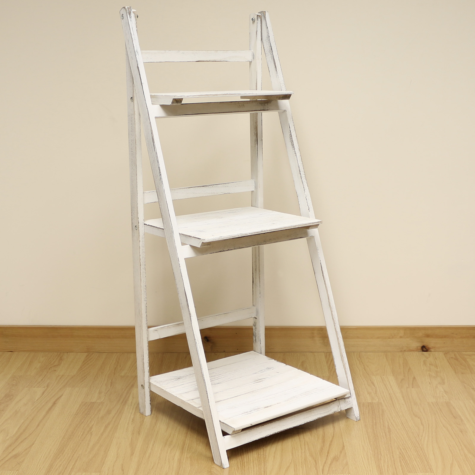 3 tier white wash ladder shelf display unit free standing for Portable book shelves