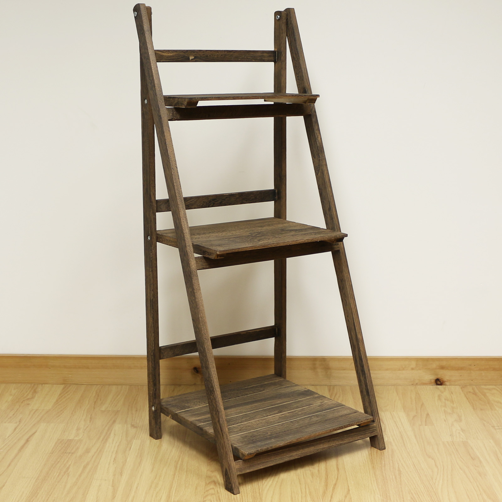 3 Tier Brown Ladder Shelf Display Unit Free Standing