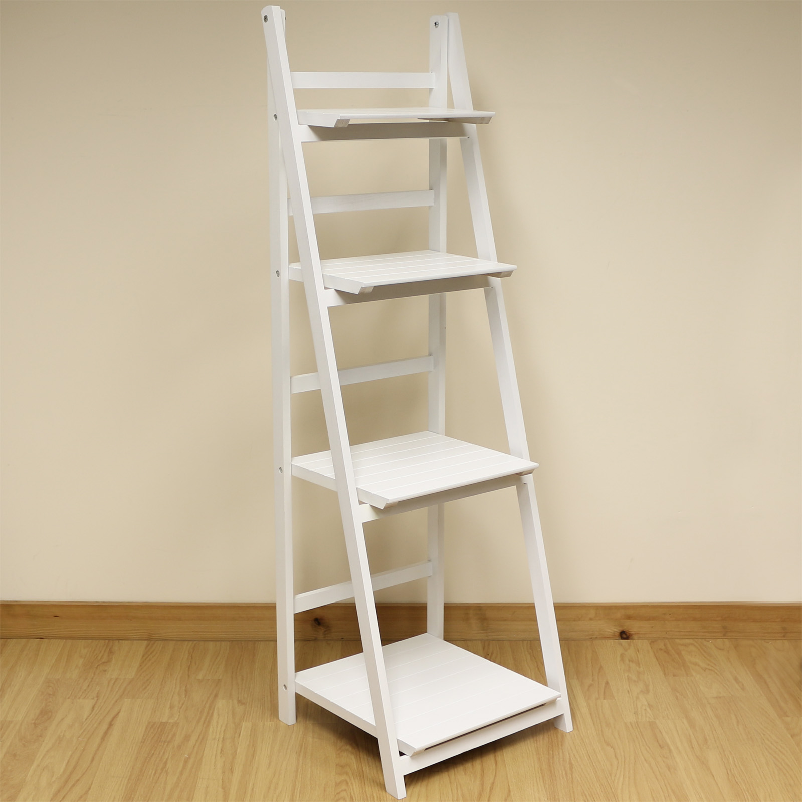 4 Tier White Ladder Shelf Display Unit Free Standing ...
