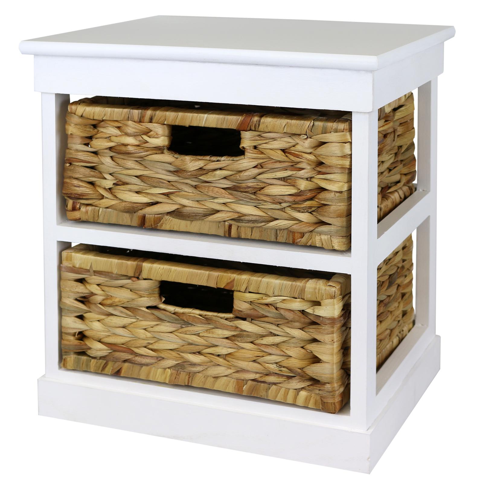 Basket Storage With Drawers Cabinets ~ Hartleys white basket bedside table home storage unit